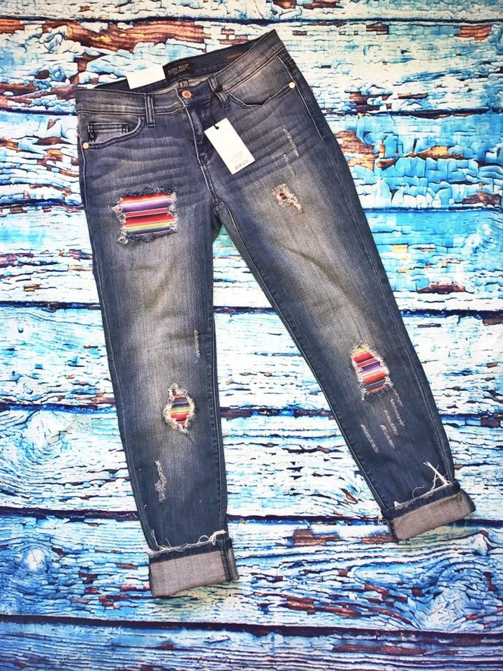 Serape Distressed Jeans
