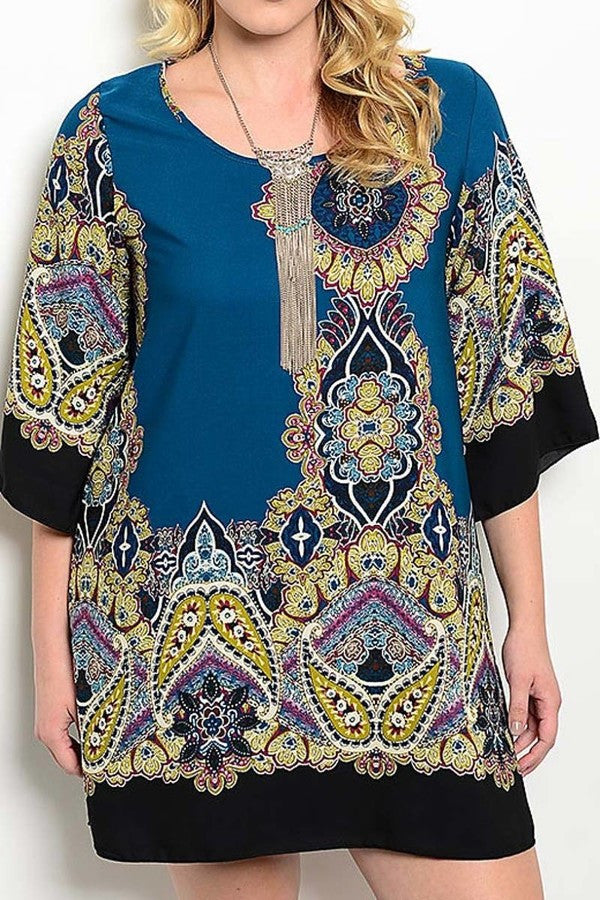 Paisley Teal Tunic Dress