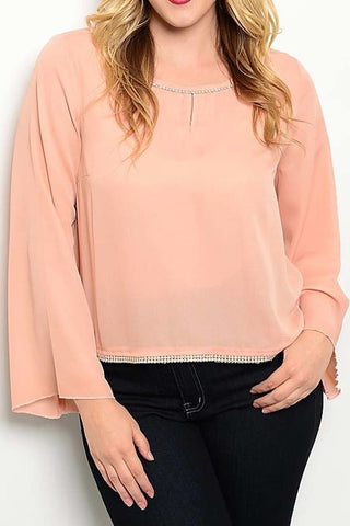 Jeweled Peach Blouse