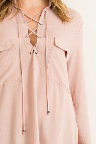Lace Me Up Tunic Almond