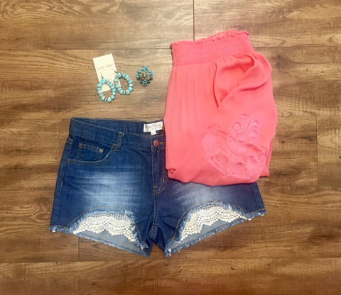 Lace Denim Shorts