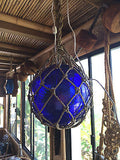 NEW Puffer Fish Cobalt Blue Glass Fish Float Lamp Red Tiki bar Smokin Tikis a21