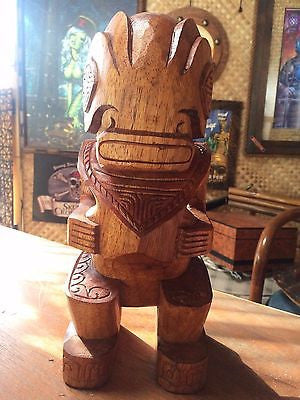 NEW Marquesan Tiki 1' Tall Wood Handcarved bar not a mug Smokin Tikis  Suna1