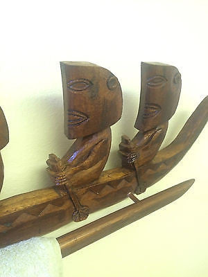 New 3' + Marquesan Outrigger Wall art or Hand Towell Hanger Smokin Tikis 120
