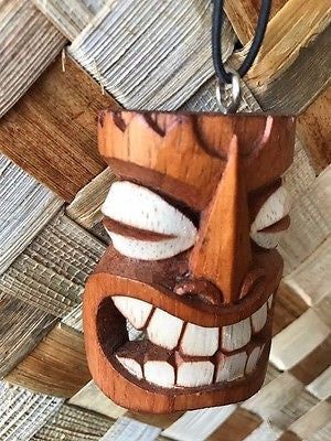 "New 3"" Happy Tiki Christmas Ornament / Pendant Wood Hawaii"