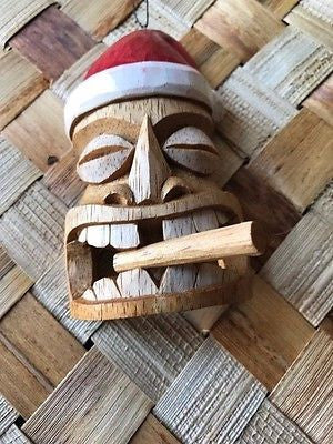 "New 4"" Smokin' Santa Tiki Christmas Ornament / Pendant Wood Hawaii 1120"