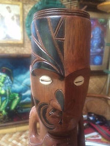 "NEW Maori Tattooed Tiki 14"" Tall bar not a mug Smokin Tikis 120"