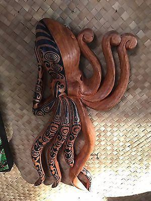 New Lg Wall Hanging Tatooed Octopus Smokin' Tikis Hawaii 1211f