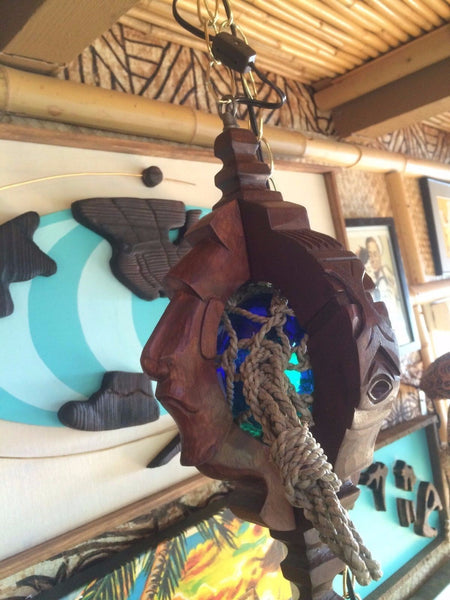 NEW Witco style lamp Blue glass fish float with net Tiki bar Smokin Tikis 21k