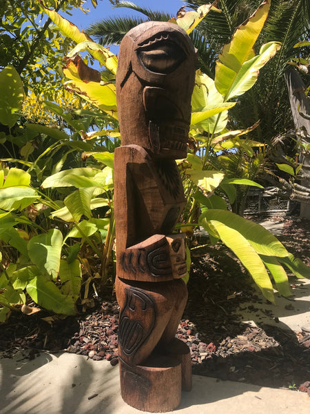 Marquesan Tiki with Skull Coconut Palm 3'3""
