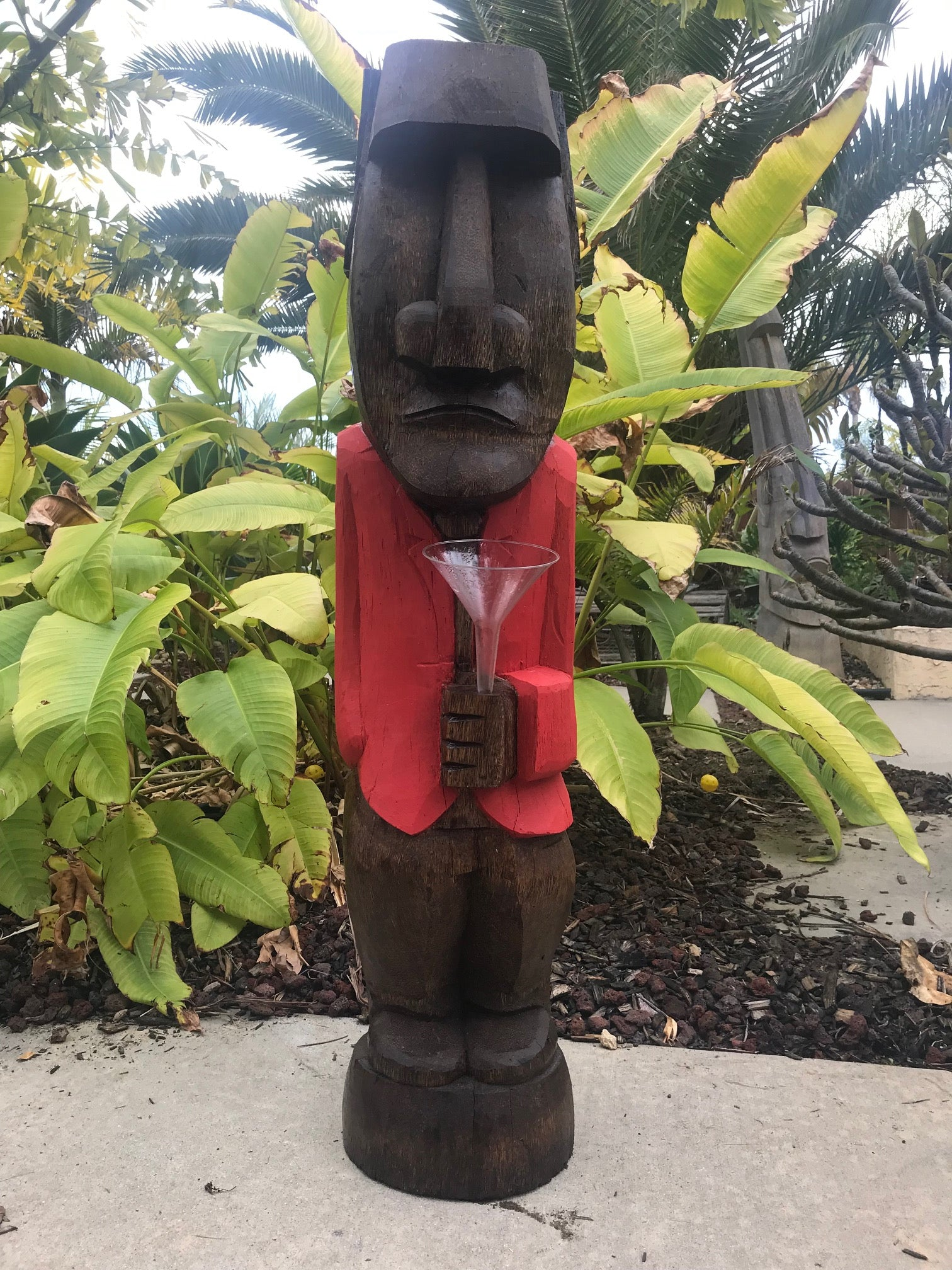 Easter Island Moai with Tuxedo and Martini Tiki Coconut Palm 3'3""
