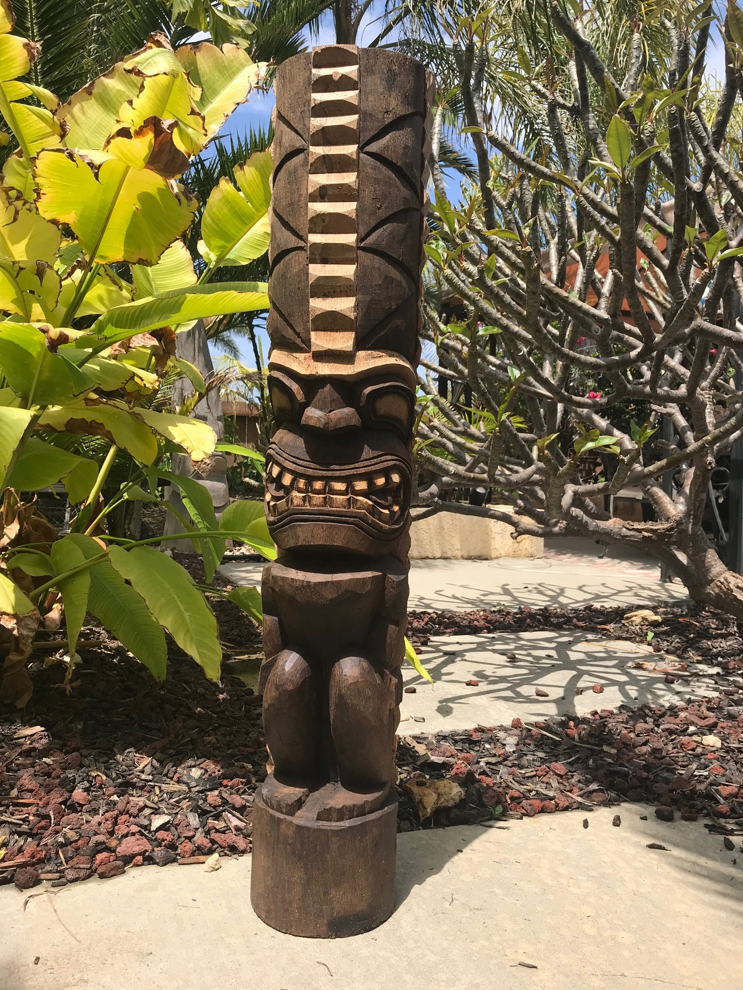 Hawaiian style Lono Tiki Coconut Palm 3'3""