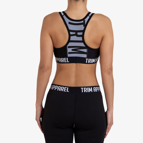 RACERBACK SPORTS BRA - BLACK - TRIM APPAREL