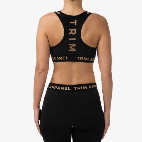 RACERBACK SPORTS BRA - BLACK X GOLD EDITION - TRIM APPAREL