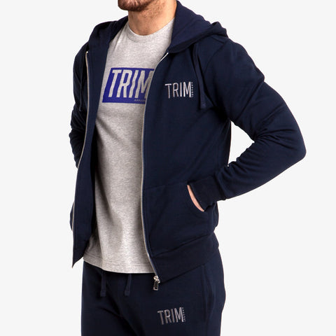 PRO-FIT FULL ZIP HOODY - NAVY - TRIM APPAREL