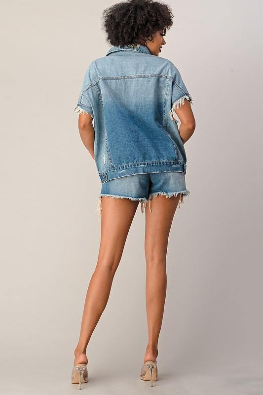 Frayed Denim Short Set