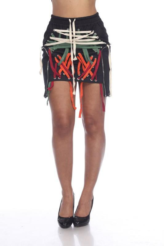Raya Mini Skirt with Multi-Colored Detailing