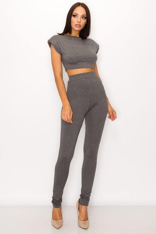 Anaya Pants Set in Charcoal