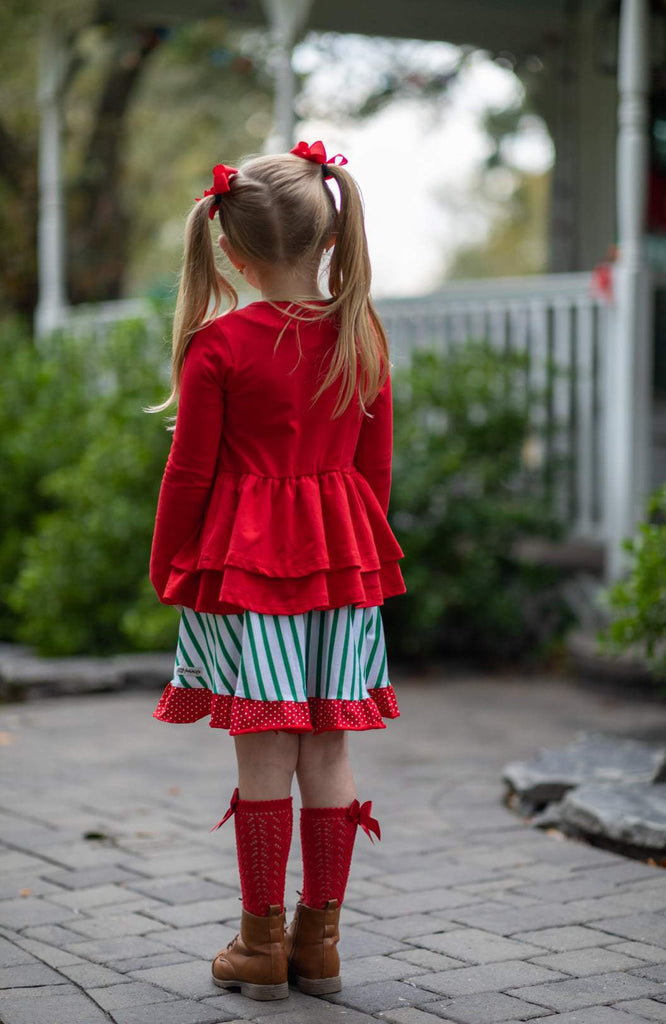 Red Double Peplum Cardigan