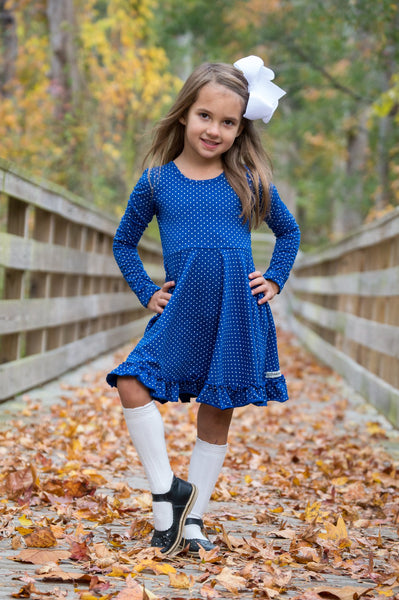 Dark Blue Dot Long Ruched Sleeve Emmy Dress