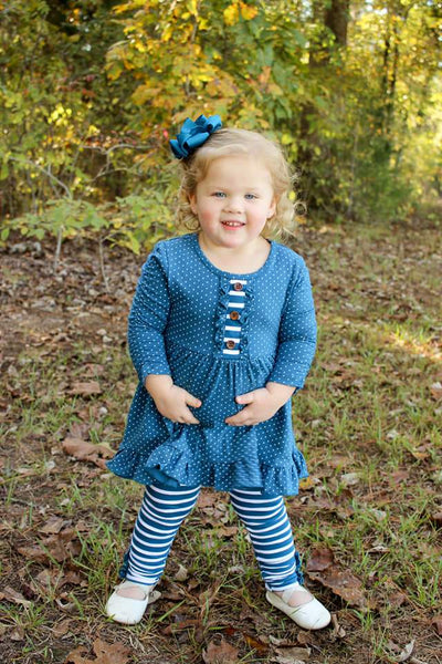 Sapphire Dot Ruched 3/4 Sleeve Molly Tunic & Ruffle Button Leggings Set