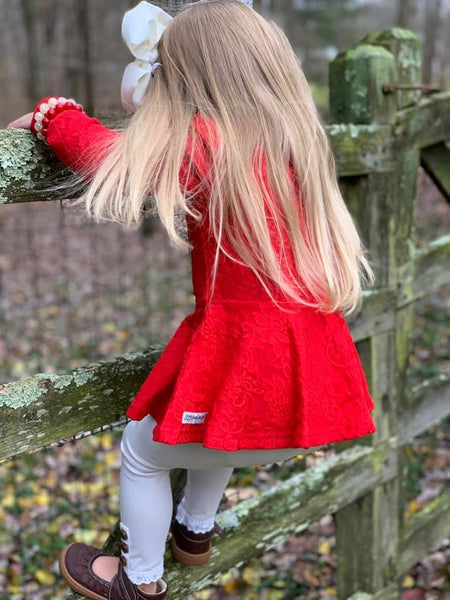 Red Lace Long Sleeve Peplum