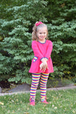 Fall Rainbow Stripe Ruffle Button Leggings