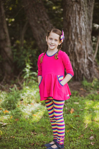 Hot Pink & Fall Rainbow Stripe 3/4 Sleeve Peplum