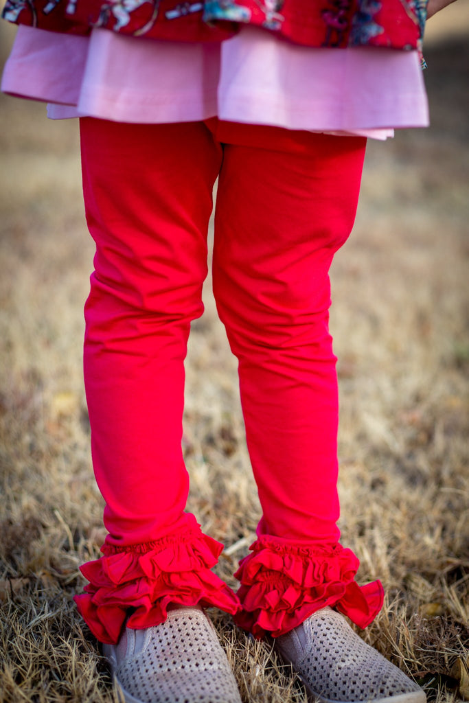 Poppy Red Small Ruffle Leggings