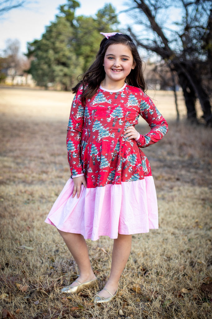 Nutcracker & Pink Long Sleeve Empire Dress