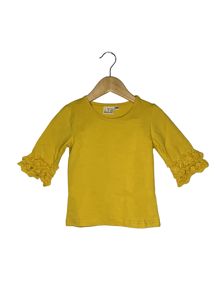 Mustard Lace Bell 3/4 Sleeve Top