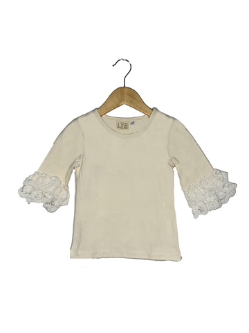 Ivory Lace Bell 3/4 Sleeve Top