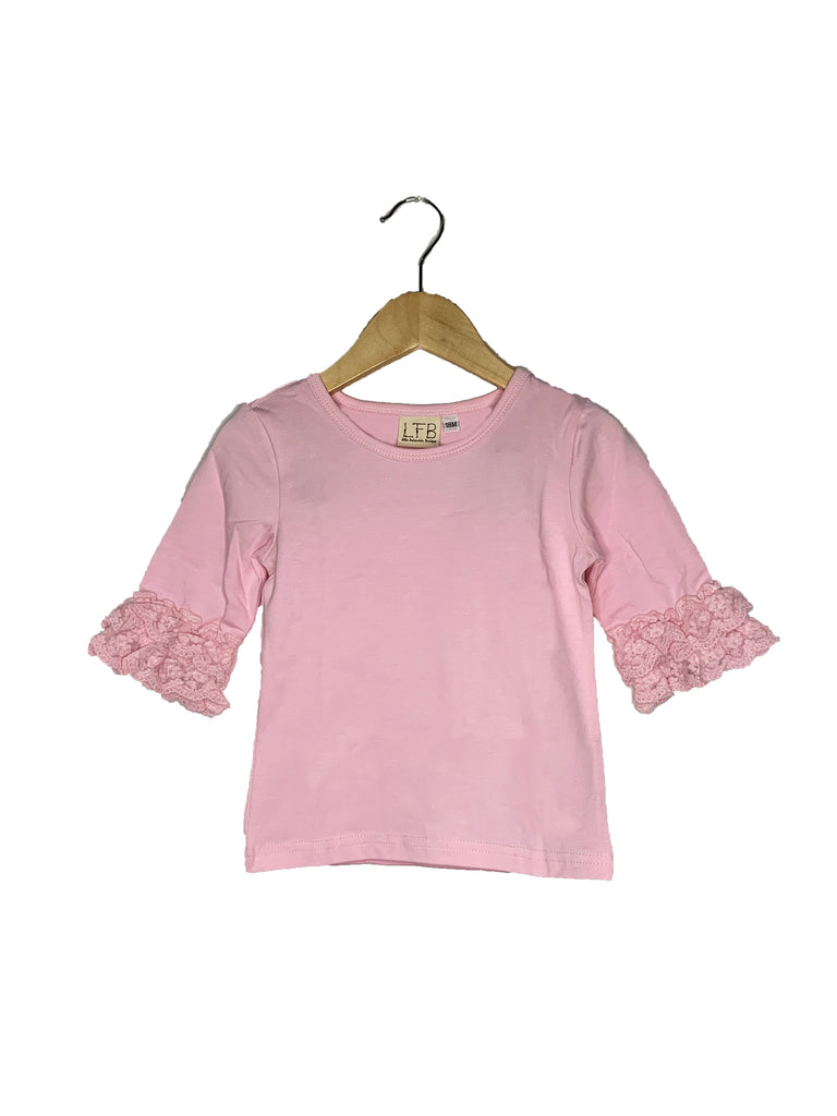 Ballet Pink Lace Bell 3/4 Sleeve Top