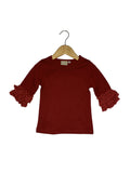 Cranberry Lace Bell 3/4 Sleeve Top
