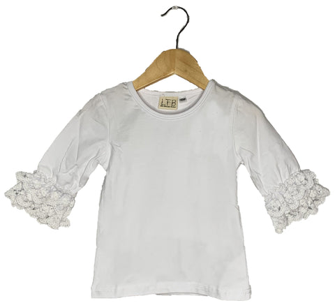 White Lace Bell 3/4 Sleeve Top