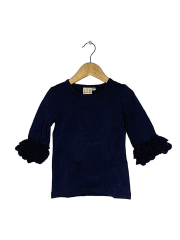 Navy Lace Bell 3/4 Sleeve Top