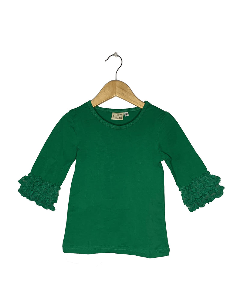 Green Lace Bell 3/4 Sleeve Top