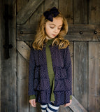 Midnight Blue Dot Triple Layer Ruffle Cardigan