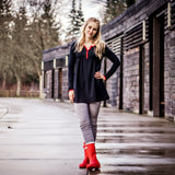 Women's Black with Red Accents Pleated V Neck Long Sleeve Tunic