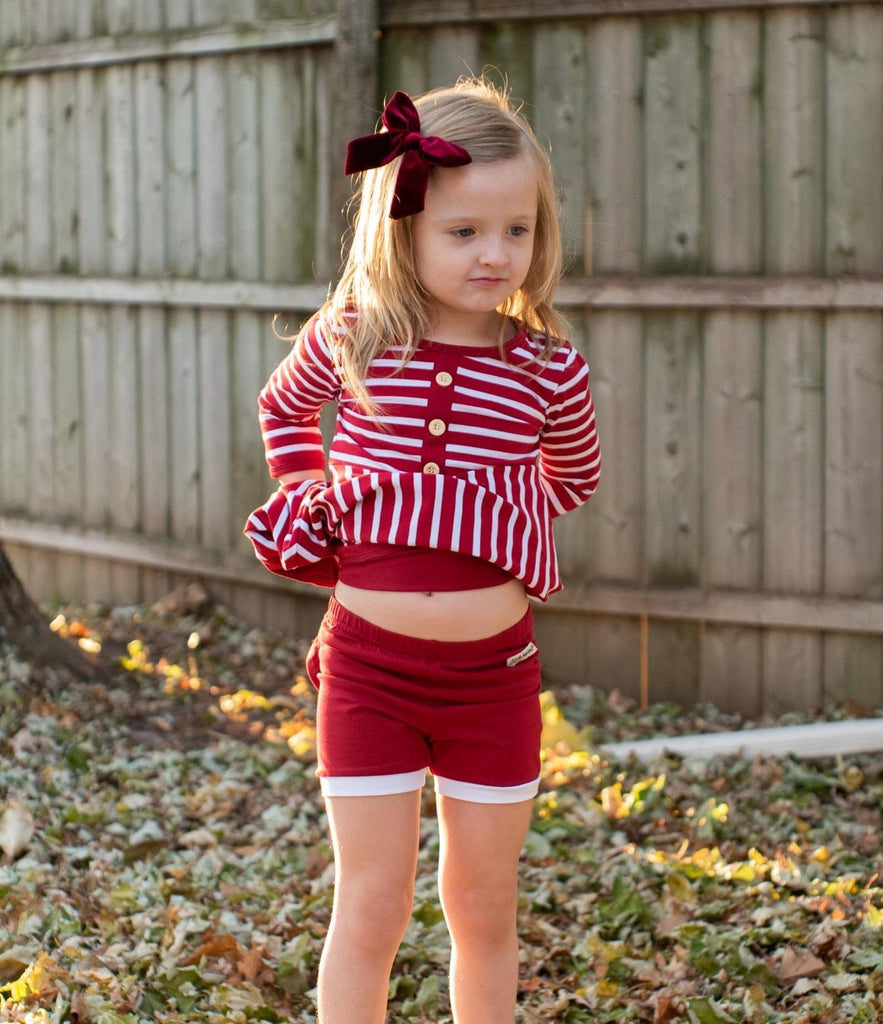 Cranberry White Trimmed Gabby Shorts