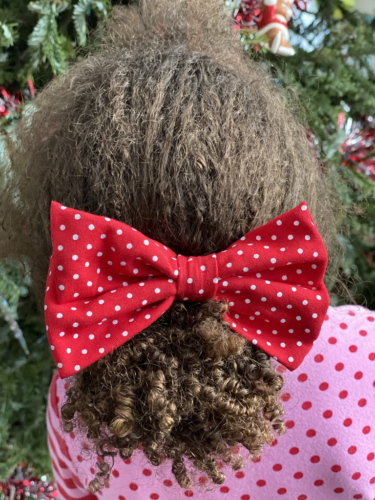 "Red Dot 4.5"" Fabric Bow"