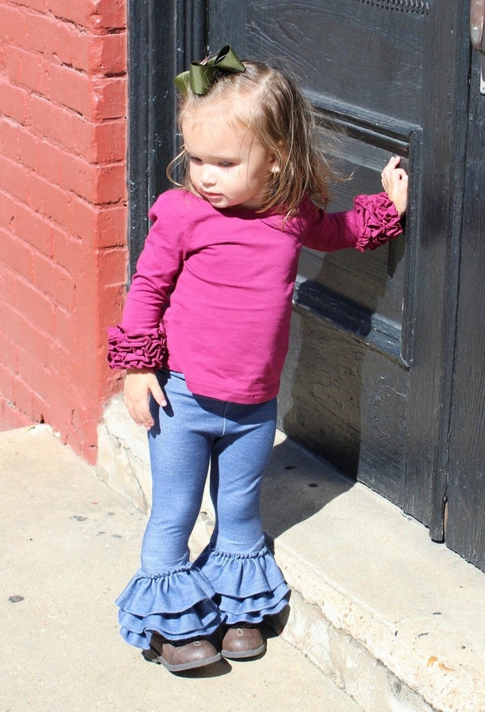 Size 18m Solid Truffle Triple Ruffle Leggings