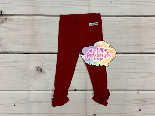 Cranberry Ruffle Button Leggings