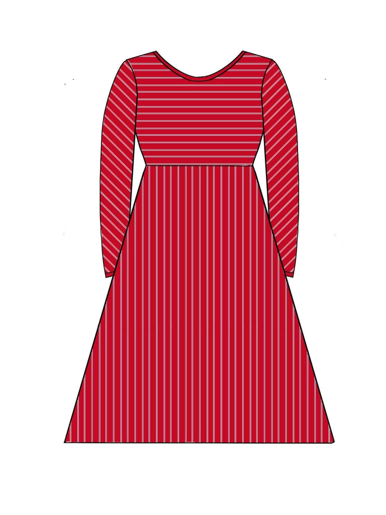 Red & White Women's Long Sleeve Dress - SIZE DOWN