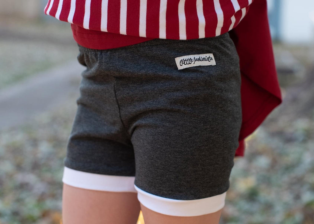 Charcoal White Trimmed Gabby Shorts