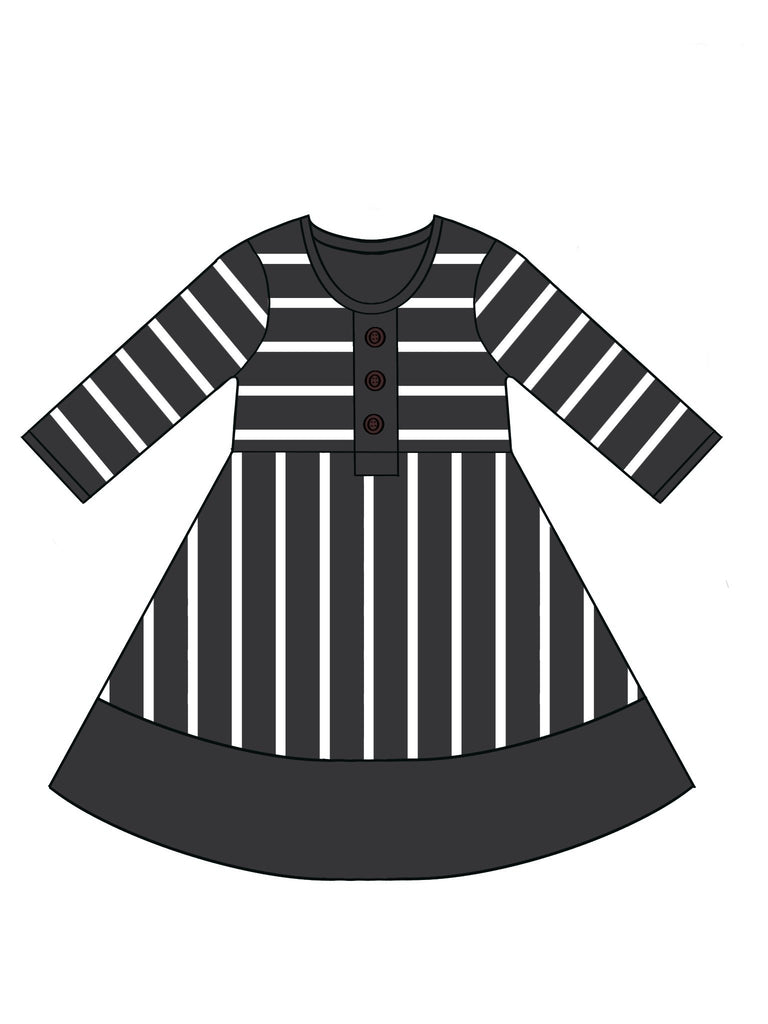 3/4 Sleeve Stripe Colorblock Dress **IN PRODUCTION**