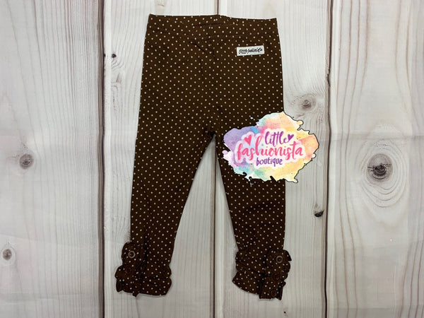 Chocolate Dot Ruffle Button Leggings