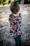 Winter Floral & Emerald Long Sleeve Harper Button Tunic