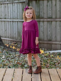 Plum 3/4 Sleeve Solid Ruffle Dress