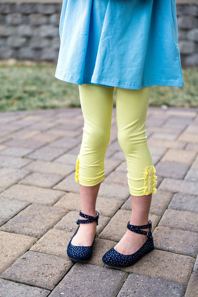 Lemon Yellow Ruffle Button Capris